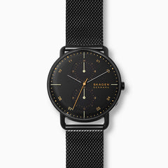 Horizont Black Steel Mesh Dual Time Watch