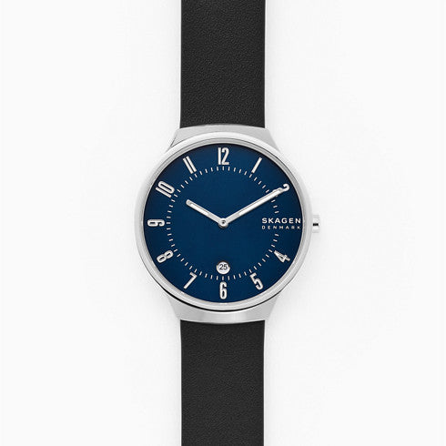 Grenen Two Hand Date Black Leather Watch