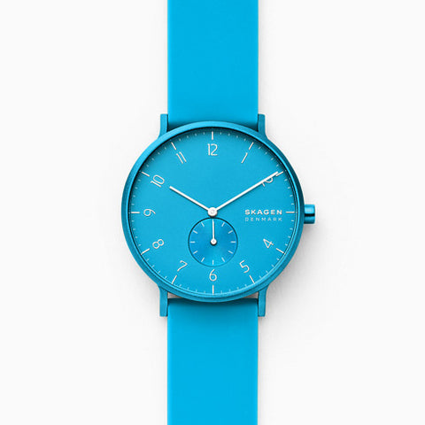 Aaren Kulor Neon Blue Silicone 41mm Watch