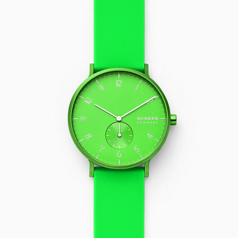 Aaren Kulor Neon Green Silicone 41mm Watch
