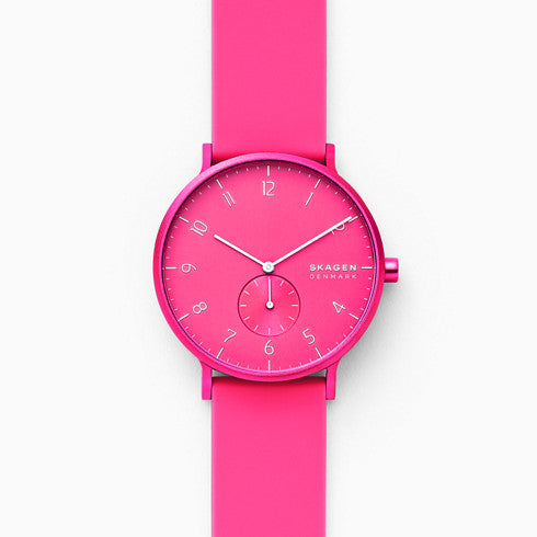 Aaren Kulor Neon Pink Silicone 41mm Watch