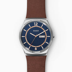 Melbye Three Hand Day Date Brown Leather Watch