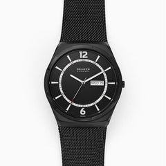 Melbye Three Hand Day Date Black Steel Mesh Watch