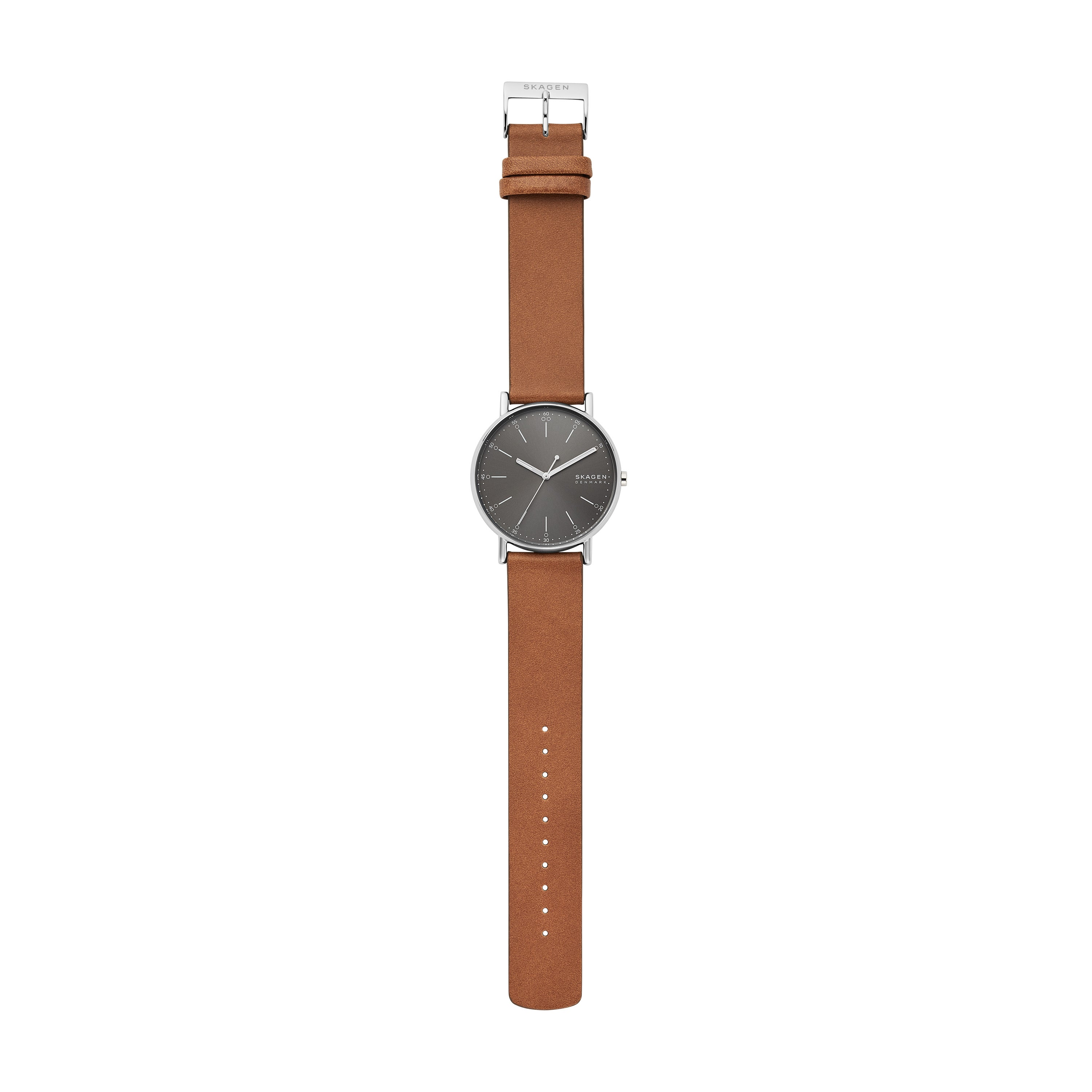 SIGNATUR Three Hand Brown Leather Watch & Silver-Tone Mesh Watch Strap Set