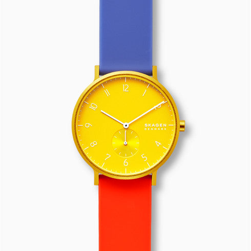 Aaren Kulor Color Blocked 41mm Watch Yellow Dial