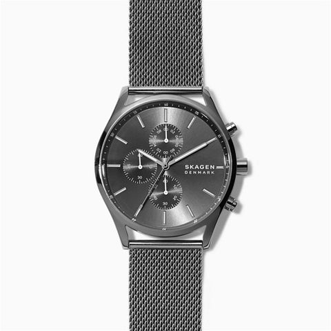 Holst Chronograph Gunmetal Steel Mesh Watch