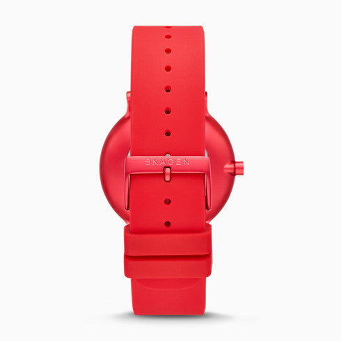 Hoptimist x Skagen Aaren Three Hand Print Red Silicone 41mm Watch