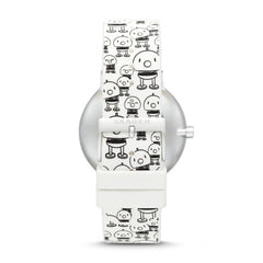 Hoptimist x Skagen Aaren Three Hand Print White Silicone 41mm Watch