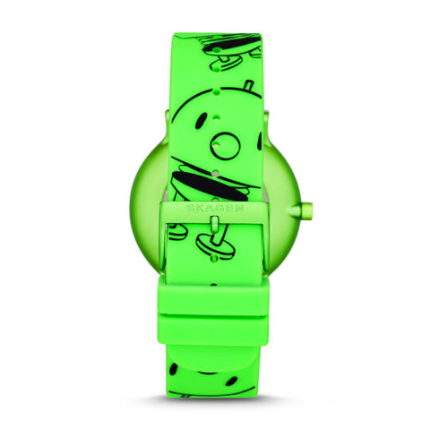 Hoptimist x Skagen Aaren Three Hand Print Green Silicone 41mm Watch