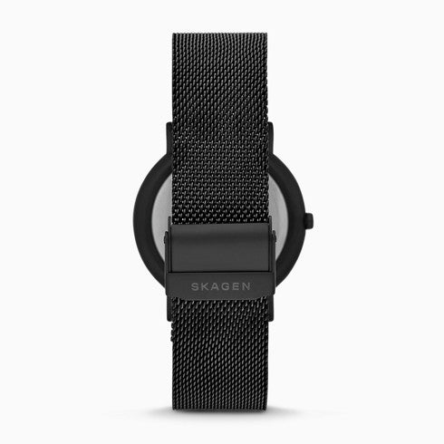 Signatur Three Hand Black Steel Mesh Watch