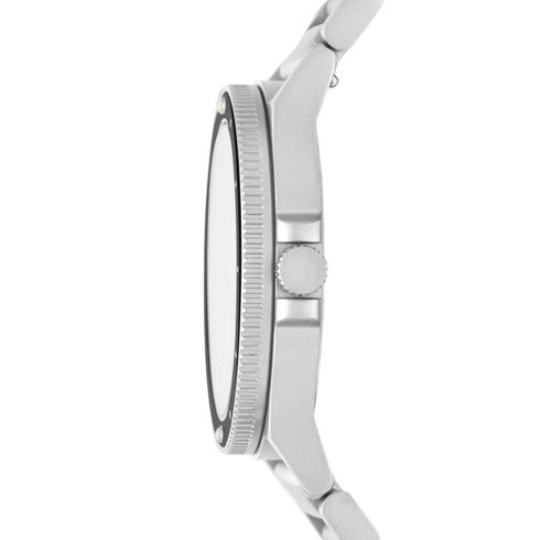 Fisk Three Hand Silver Tone Stainless Steel Watch