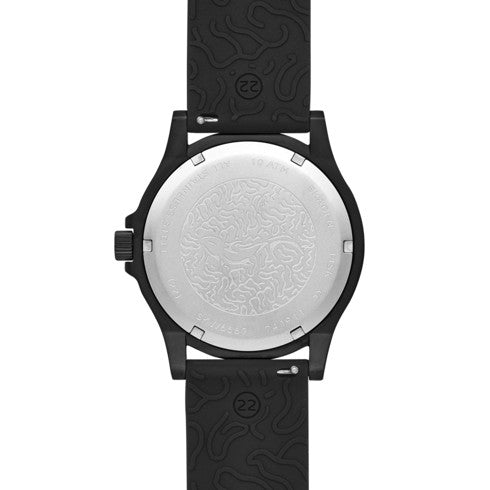 Fisk Three Hand Black Silicone Watch
