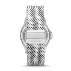 Fisk Three Hand Silver Tone Steel Mesh Watch