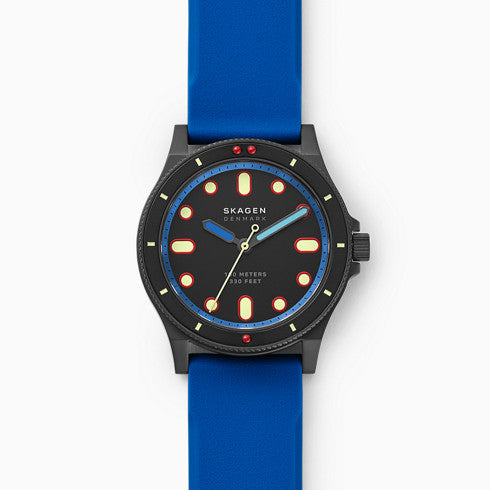 Fisk Three Hand Blue Silicone Watch