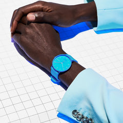 Aaren Kulor Neon Blue Silicone 36mm Watch