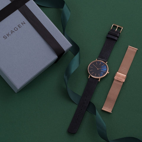 SIGNATUR SLIM Blue Leather Watch & Rose Gold-Tone Mesh Strap
