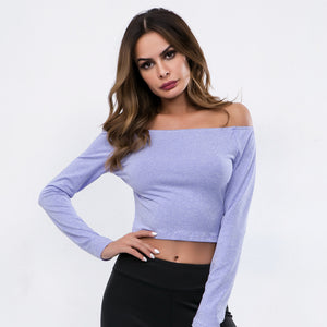 1655f040f29f7 Sexy Off Shoulder Long Sleeves Gym Work Out Top – Just Friday Activewear
