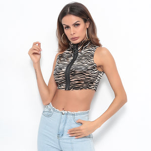 Sexy Leopard Crew Neckline Front Zip Up Closure Tank