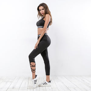 Sexy Black Character Prints Strappy Detailing Gym Wear Sports Bra and Legging Set