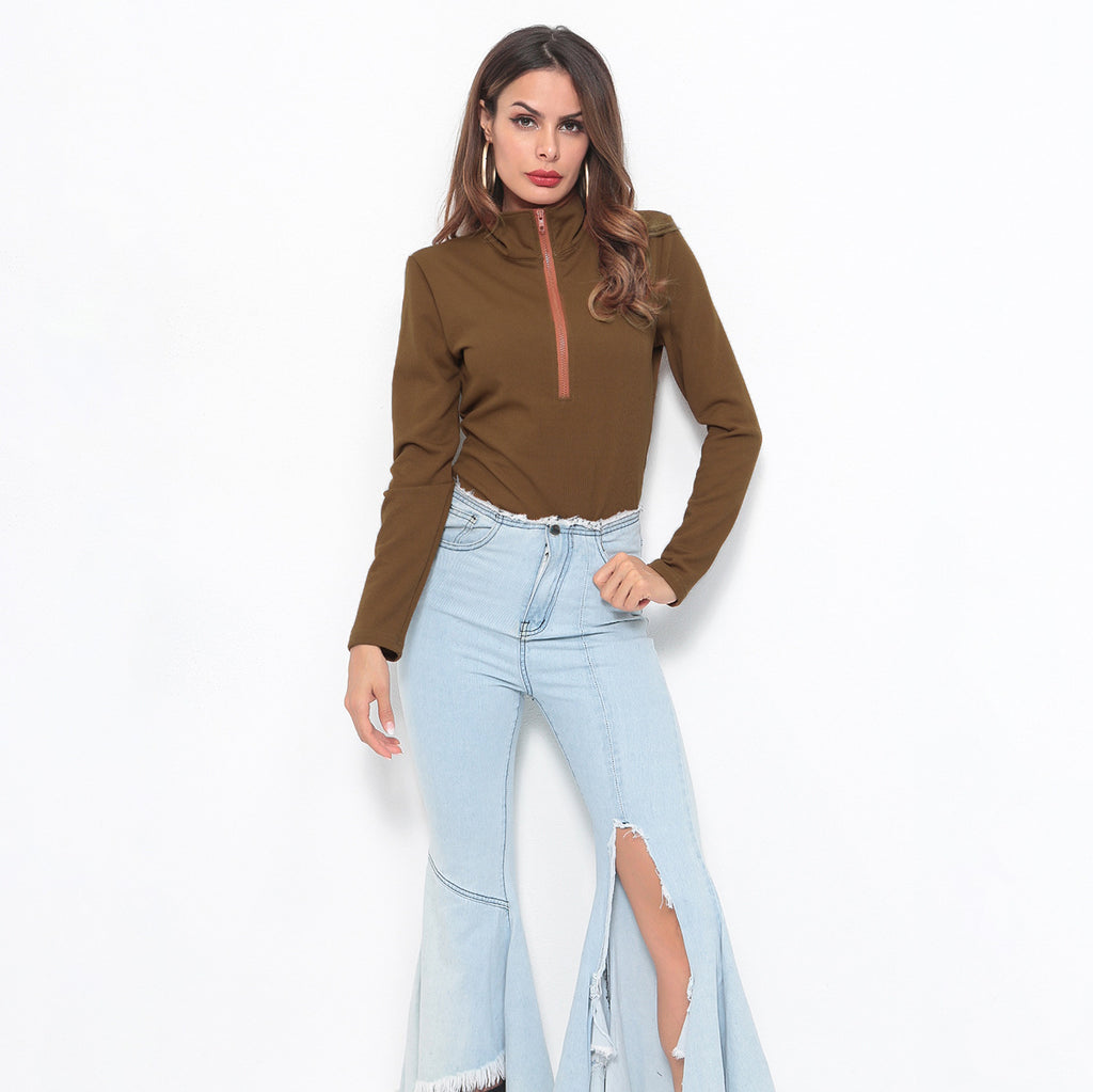 Sexy Olive Stand Collar Long Sleeveless Front Zip Up Closure Sweatshirt