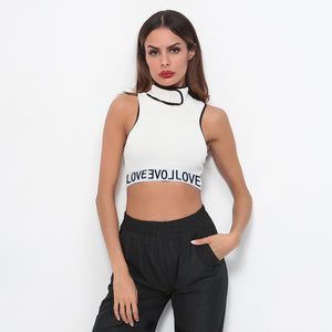 Sexy Crew Neckline Sleeveless Character Prints Top