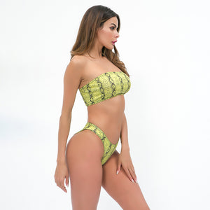 Sexy Yellow Two Tone Bikini Set