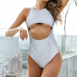 Sexy Grey Cre Neckline Sleeveless Cut Out Detailing Bodysuits