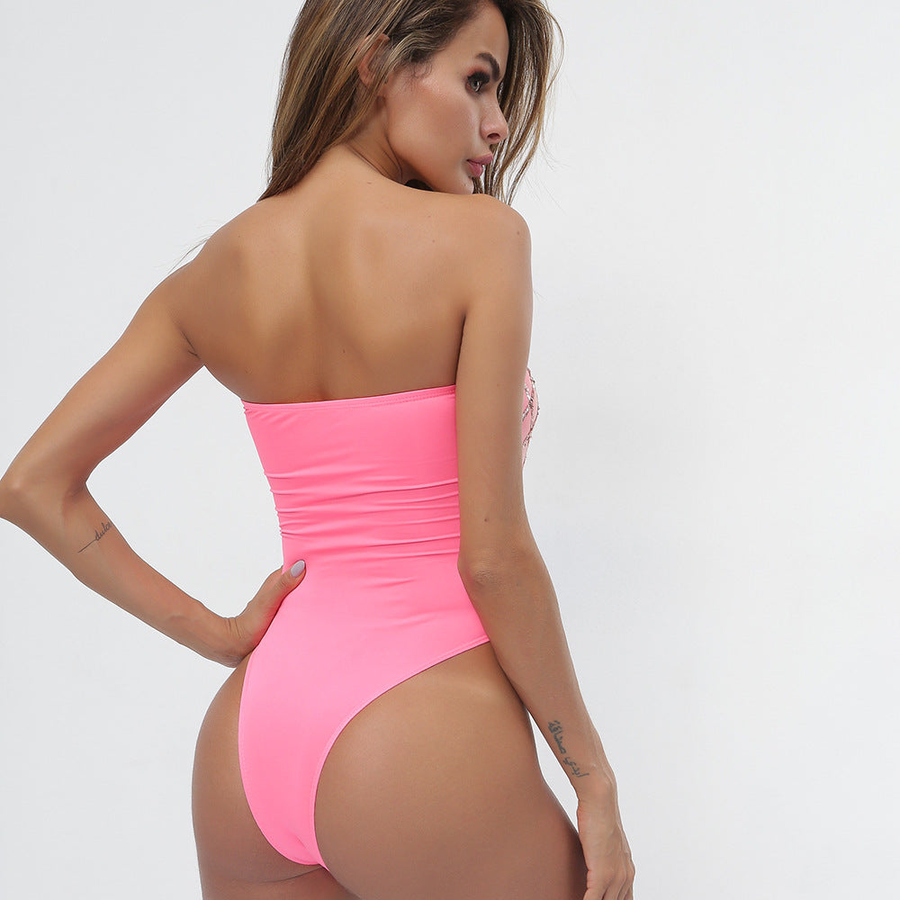 Sexy Two Tone Strapless Two TOne Open Back Bodysuits