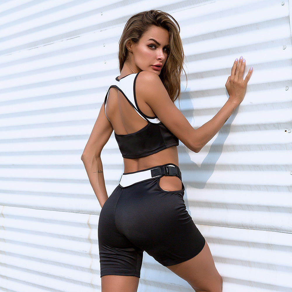 Sexy Two Tone Cut Out Detailing Sportswear Set