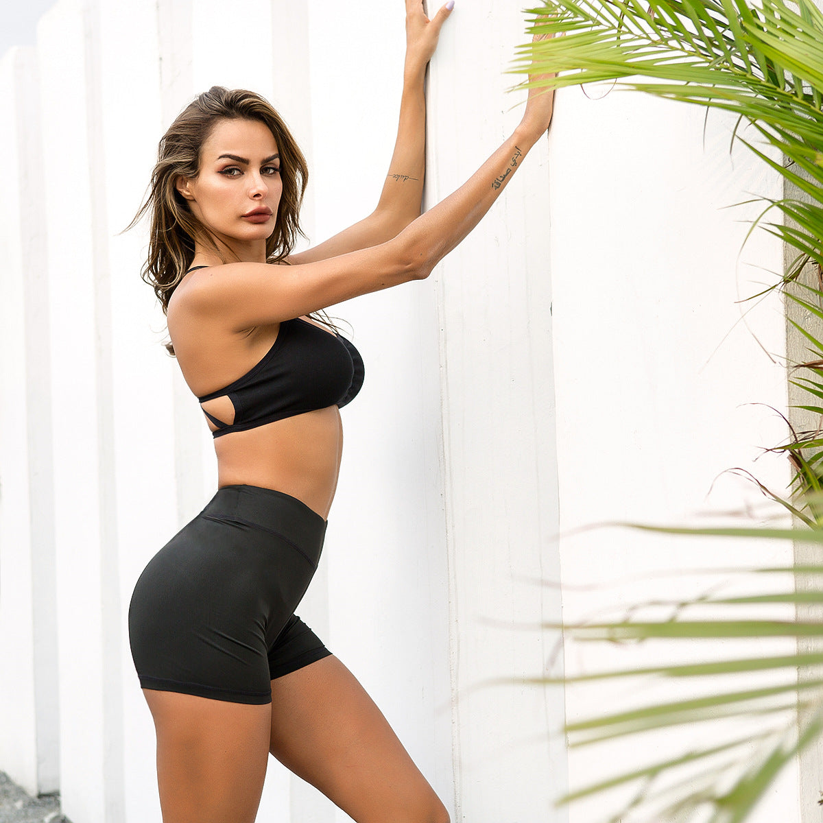 Sexy Black Mid Rise Sports Shorts