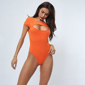 Sexy Orange Cut Out Bodysuits