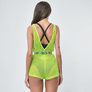 Sexy Neon Yellow Mesh Detailing Sleeveless Jumpsuits