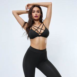 Sexy Black Strappy Detailing Gym Work Out Sports Bra