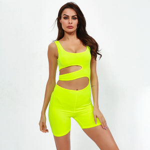 Sexy Neon Yellow Sleeveless Cut Out Detailing Jumpsuits
