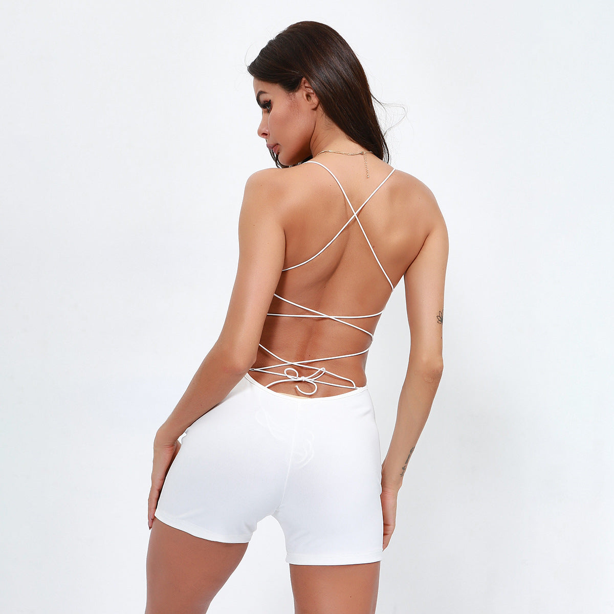 Sexy White Open Back Sleeveless Cut Out Detailing Jumpsuits
