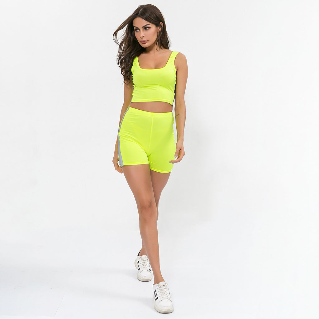 Sexy Neon Yellow Round Neckline Luminous Sports Bra Shorts Sportswear Set