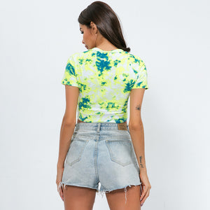 Sexy Two Tone Floral Prints  Round Neckline Short Sleeves Tee