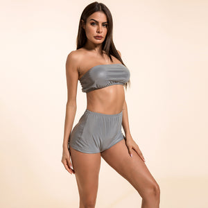 Sexy Grey Luminous Gym Work Out Sportswear Set