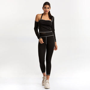 Sexy Black Two Tone One Shoulder Long Sleeves Gym Wear Work Out Fashion Sportswear Set