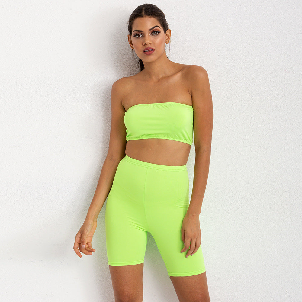 Sexy Neon Yellow Sports Bra Shorts Sportswear Gymwear Work Our Set