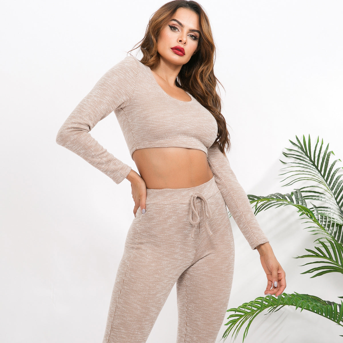Sexy Beige Long Sleeves Gym Wear Sportswear Set