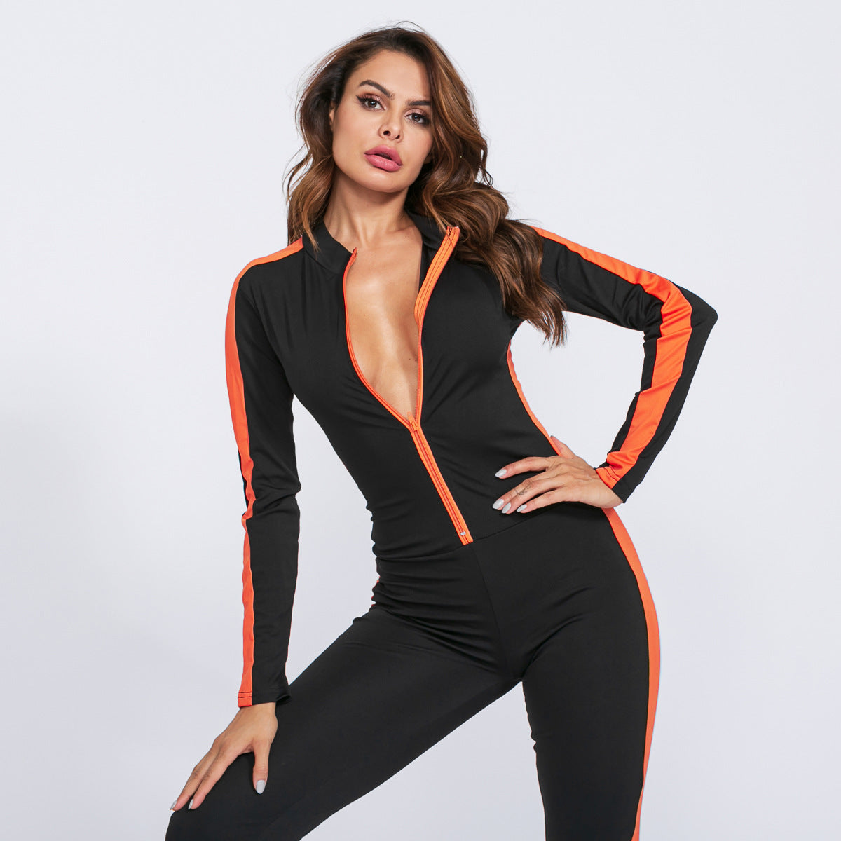 Sexy Round Neckline Long Sleeves Two Tone Front Zip Up Closure Jumpsuits