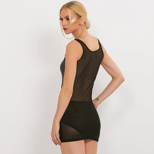 Sexy Round Neckline Sleeveless Studded Detailing Mesh Dress