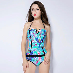 Sexy Under Wire Padded V Neckline Cut Out Tie Up Closure One Piece