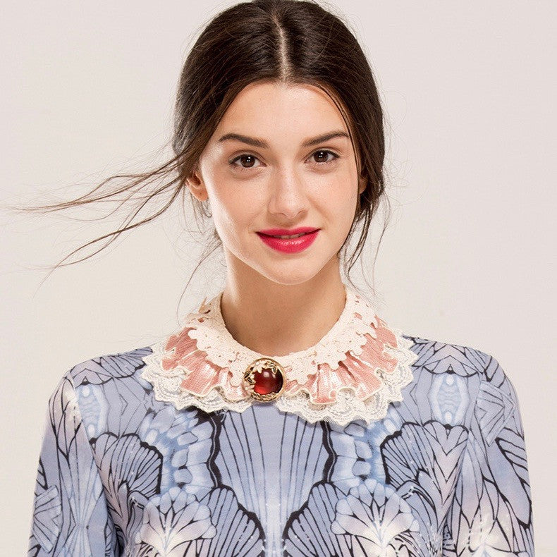 Two Tone Stone Lace Up Detailing Necklace