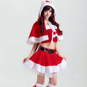 Cute Two Tone Waist Tie Skirt Christmas Costume