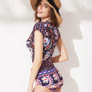 Sexy Floral Prints Front Zip Up Closure One Piece