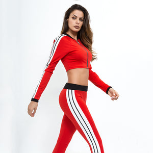 Sexy Red Long Sleeves Gym Wear Sportswear Set