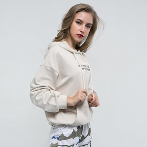 Sexy White Long Sleeves Crew Neckline Character Prints Front Pocket Hoodie