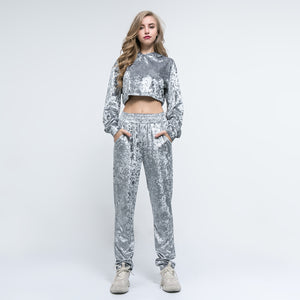 Sexy Grey Long Sleeves Crew Neckline Sportswear Set